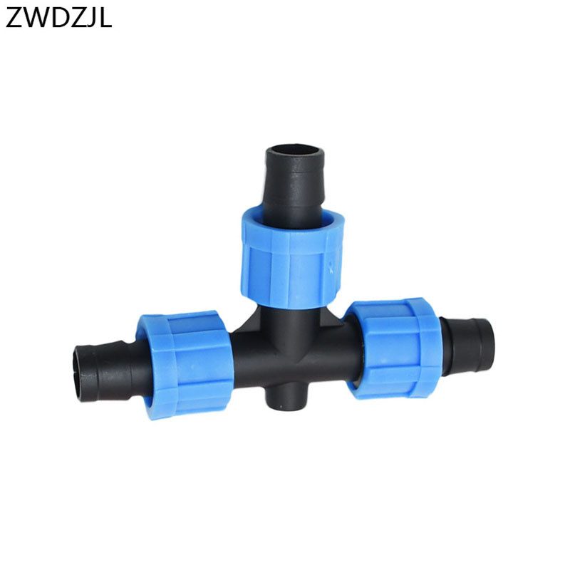 Irrigation 16mm Drip Tape Tee Connector Screw 3 Way Garden Hose Water Splitter Thread Locking Drip Tape For Irrigation 1pcs