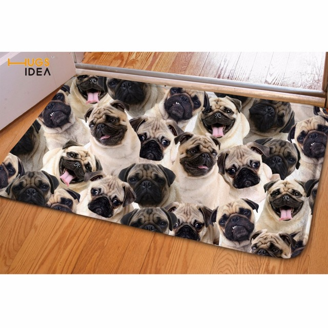 Hugsidea Pug Dog Printed Balcony Carpet Flannel Bathroom Doorway Non Slip Mat Front Door Welcome Floor Salle Area Rug Decorative