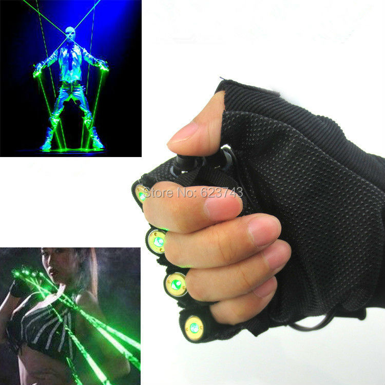 1Pcs Red Green Laser Gloves Dancing Stage Show Light With 4 pcs lasers and LED palm light for DJ Club/Party/Bars novelty led laser gloves green red led bulb with battery dance show finger gloves laser for disco music party stage lighting
