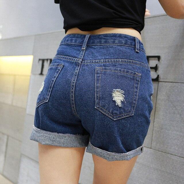 Comercio al por mayor 2016New mujeres jeans Mediados de Cintura Pantalones Cortos de Mezclilla de verano flojo Ocasional mujeres Jeans Shorts Agujero Hot Shorts Más El Tamaño Sml XL