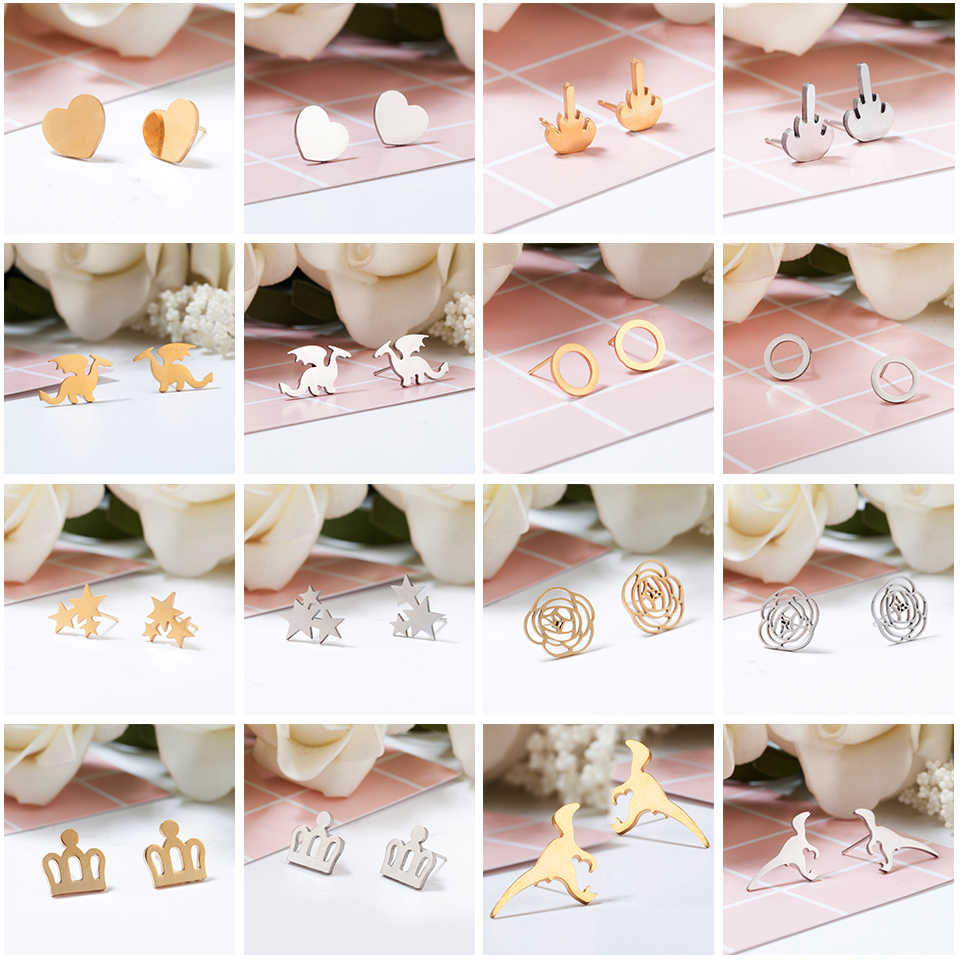Women Minimalist Earrings Golden and Silver Stainless Steel Cute Animals Stars Cat Earrings Girls Jewelry Accessories Gifts
