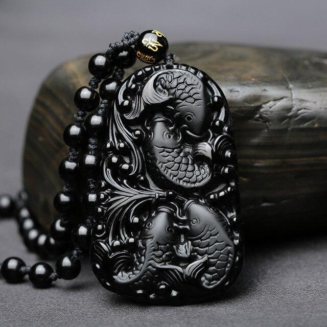 Замечательные китайские ручной работы натуральный черный обсидиан