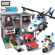 City Police Series Station Helicopter Building Blocks Set Legoes Bricks DIY Model Educational Assembled Toys For Children Gifts недорого