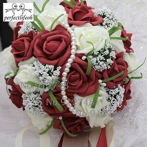 Image 3 - Perfectlifeoh bonito roxo buquê de casamento todos os buquês de casamento de flores de noiva pérolas artificiais flor rosa ramos de novia