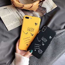 Smiley Face Phone Case For iPhone 6 6s 7 8 Plus X XR XS Max Cute Cartoon Letter Deer Scrub Hard  PC Cover