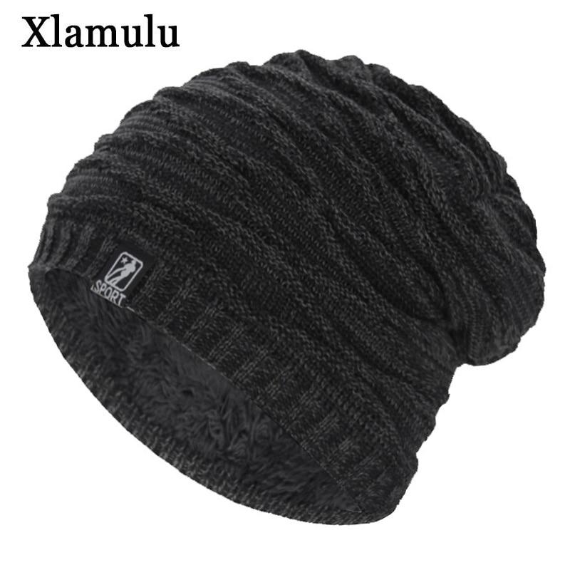 Xlamulu Brand Fashion Women Skullies Beanies Knitted Hat Winter Hats For Men Thick Soft Fur Gorros Bonnet Striped Warm Male Hat