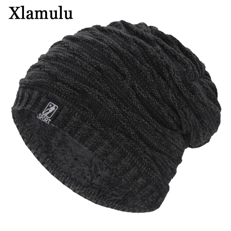 Xlamulu Brand Fashion Women   Skullies     Beanies   Knitted Hat Winter Hats For Men Thick Soft Fur Gorros Bonnet Striped Warm Male Hat