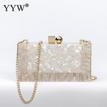 YYW Marblingสีขาวอะคริลิคกล่องกระเป๋าคลัทช์กระเป๋าถือผู้หญิงBgas Designer Pochette Femme Clutchฤดูร้อนอะคริลิคกระเป๋า