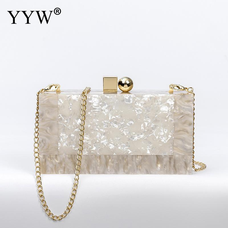 YYW Marbling White Acrylic Purse Box Clutch Luxury Handbags Women