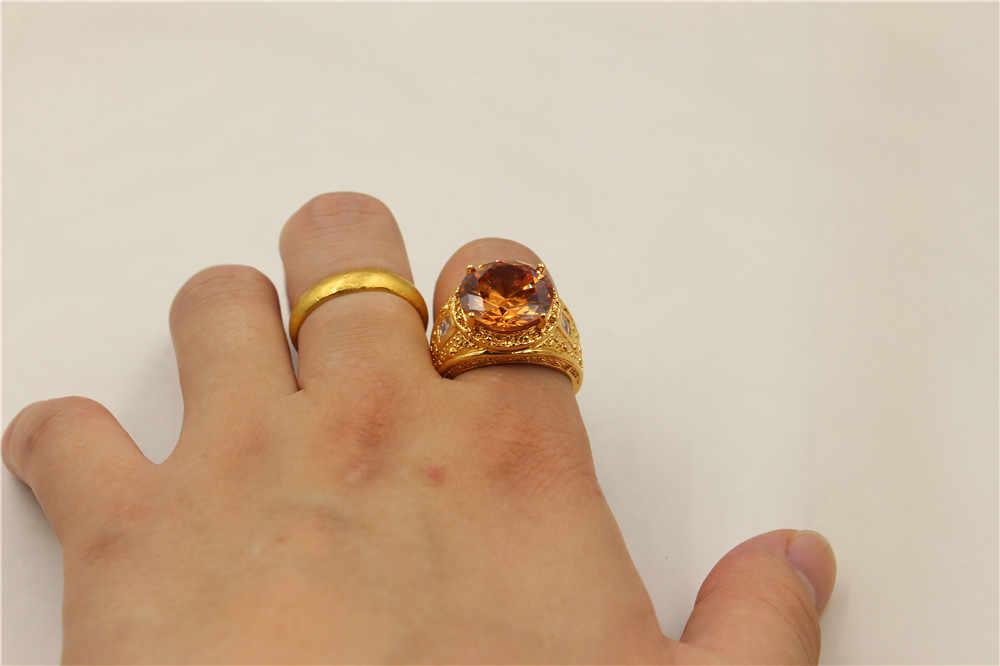 ขนาด8/9/10/11/12วินเทจบรรยากาศ15ctรอบเหลือง5aเพทายหิน18KTสีเหลืองทองที่เต็มไปแหวนสำหรับผู้ชาย