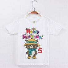 New Arrival Fashion White Kids Birthday T shirts Cute Bear Printed Cotton Short Sleeve Boy Tees Tops Clothes Boys Party Tshirt