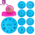 KADS 13pcs Round Stainless Steel Image Plate+2-way stamp+scrap DIY Nail Art Stamping Template Set for stamping nail art plate