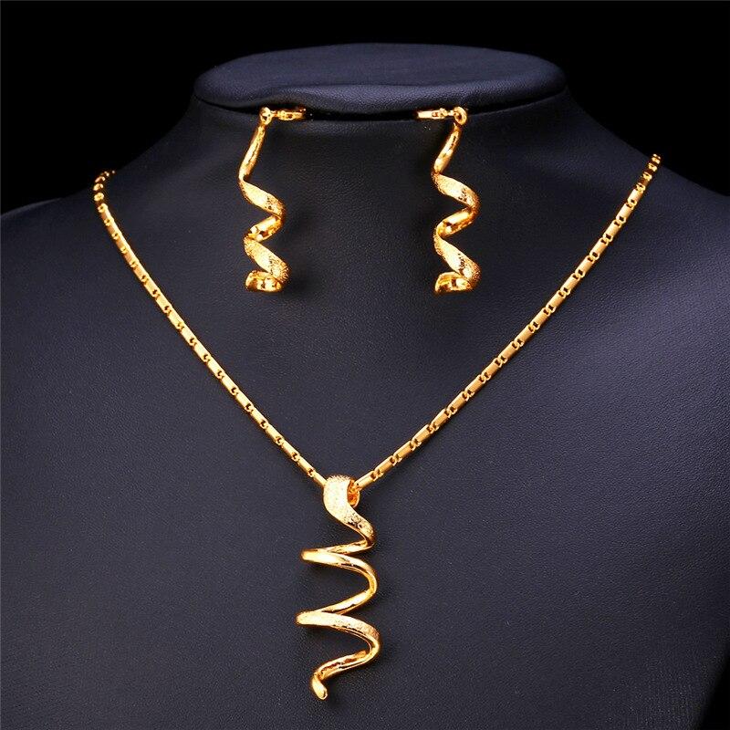 U7 Unique Design Long Helix Spiral Jewelry Sets For Women Fashion ...
