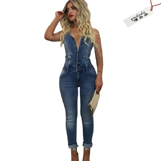 Bodycon Jumpsuit Summer Sleeveless Denim Rompers Women Off Shoulder  Backless Sexy Fringe Jumpsuit Zipper Slim Fit
