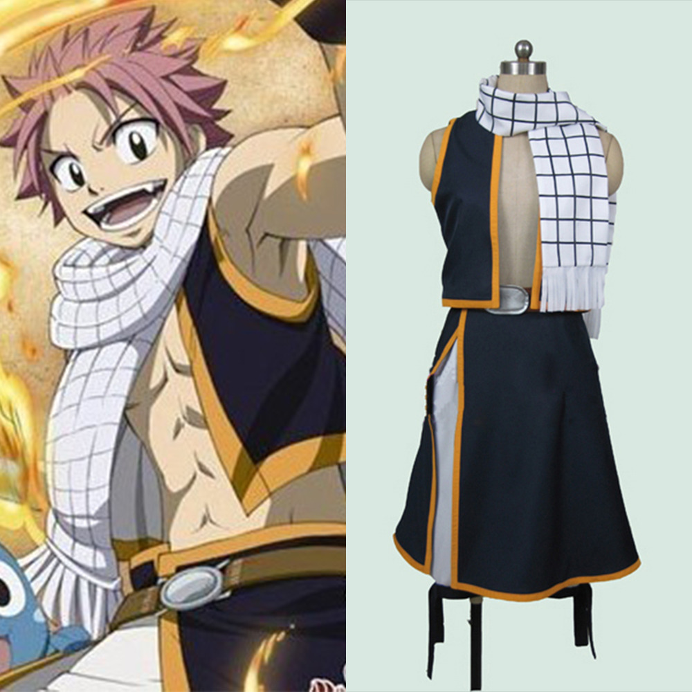 Fairy Tail Natsu Dragneel Cosplay Costume Custom Made Any Size Outfit Clothing Full Sets For Adult Men