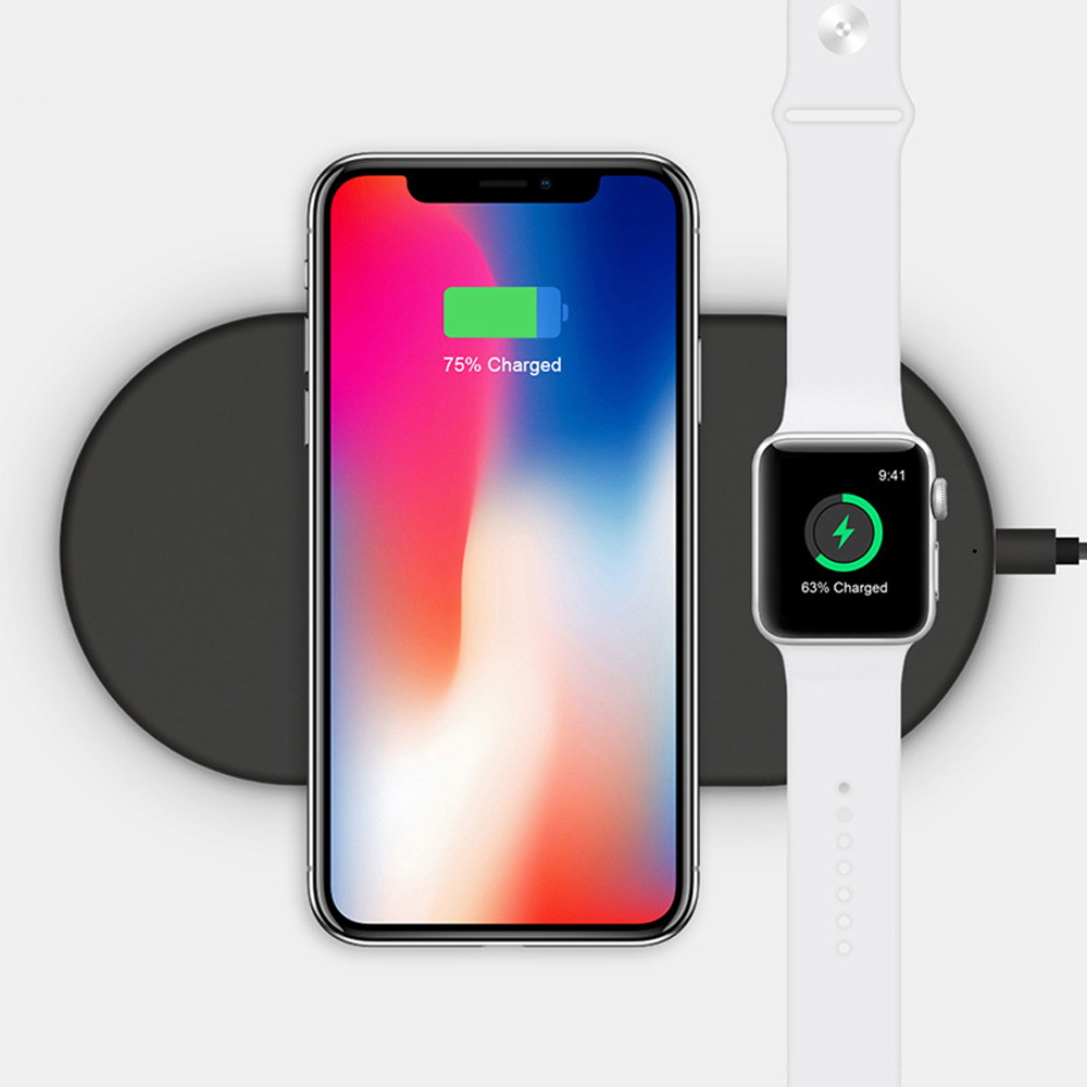 Fashion Business 2 in 1 Wireless Charger For iPhone X XS Max XR 8 Plus For iWatch 3 2 Fast Wireless Charging Ultra Thin Base Pad