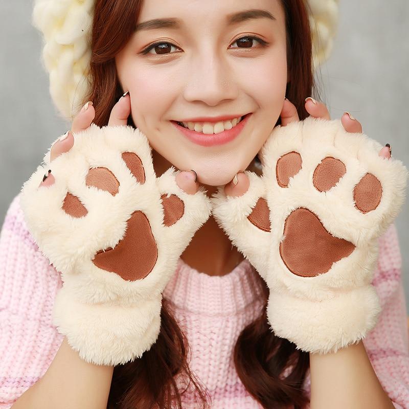 Winter gloves women fingerless gloves winter lady's warm half finger mittens novelty fluffy bear/cat plush paw/claw gloves