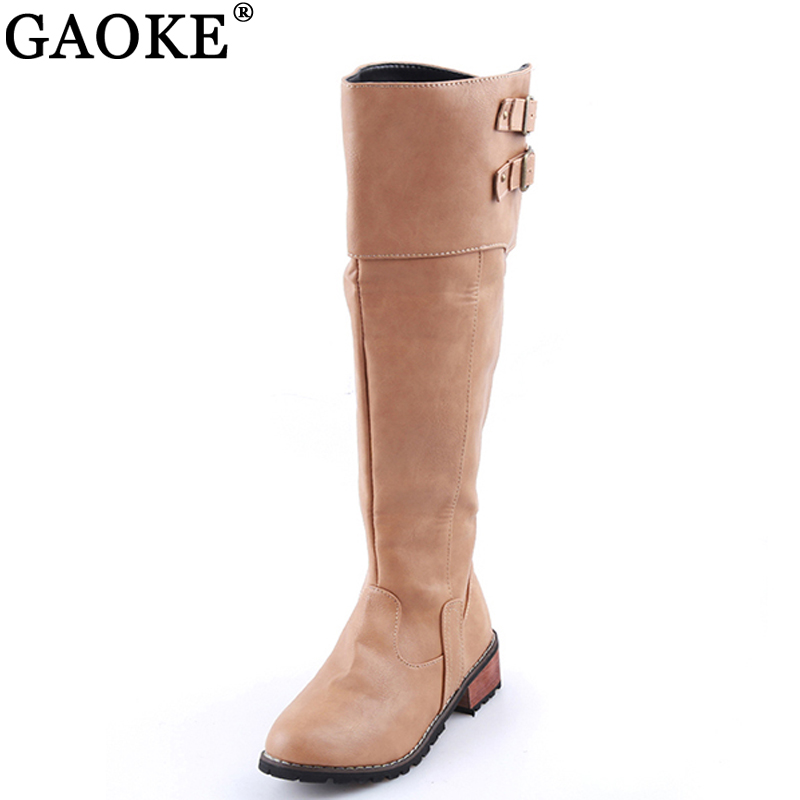 Women Riding Boots Square Heels Knee High Boots 2018 Buckle Autumn Female Long Boots Large Size 35-42 Winter Ladies Shoes