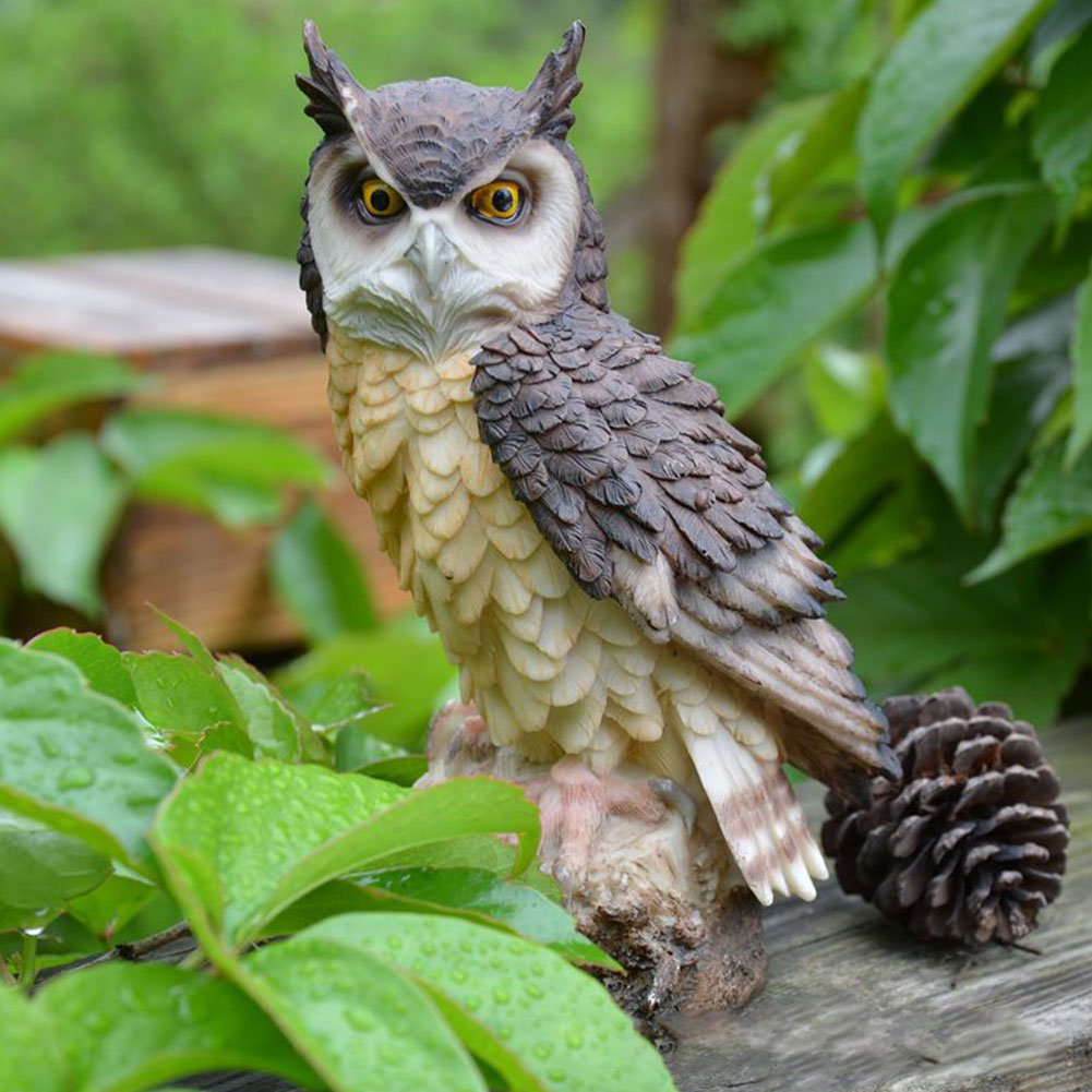 Lifelike Ornament Outdoor Collection Owl Shape Desktop Garden Figurine Home Decoration Resin Cute Art Craft Anti-bird Indoor