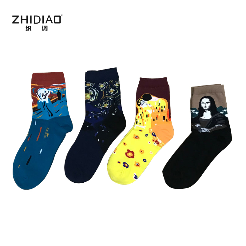 Happy winter fashion women sock men funny cotton crew art van gogh mural world famous colored oil painting thermal men socks