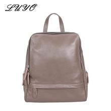 Luyo бренд топ-качество 100% натуральной кожи коровьей женщин ноутбук женской моды рюкзак bagpack mochila feminina sac dos
