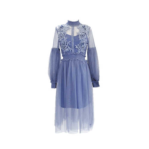 2019 חדש נשים אופנה שמלת צווארון עומד פנס שרוול רשת שמלת תחרה שקופה רקמת פיות שמלת Femme Vestidos Robe