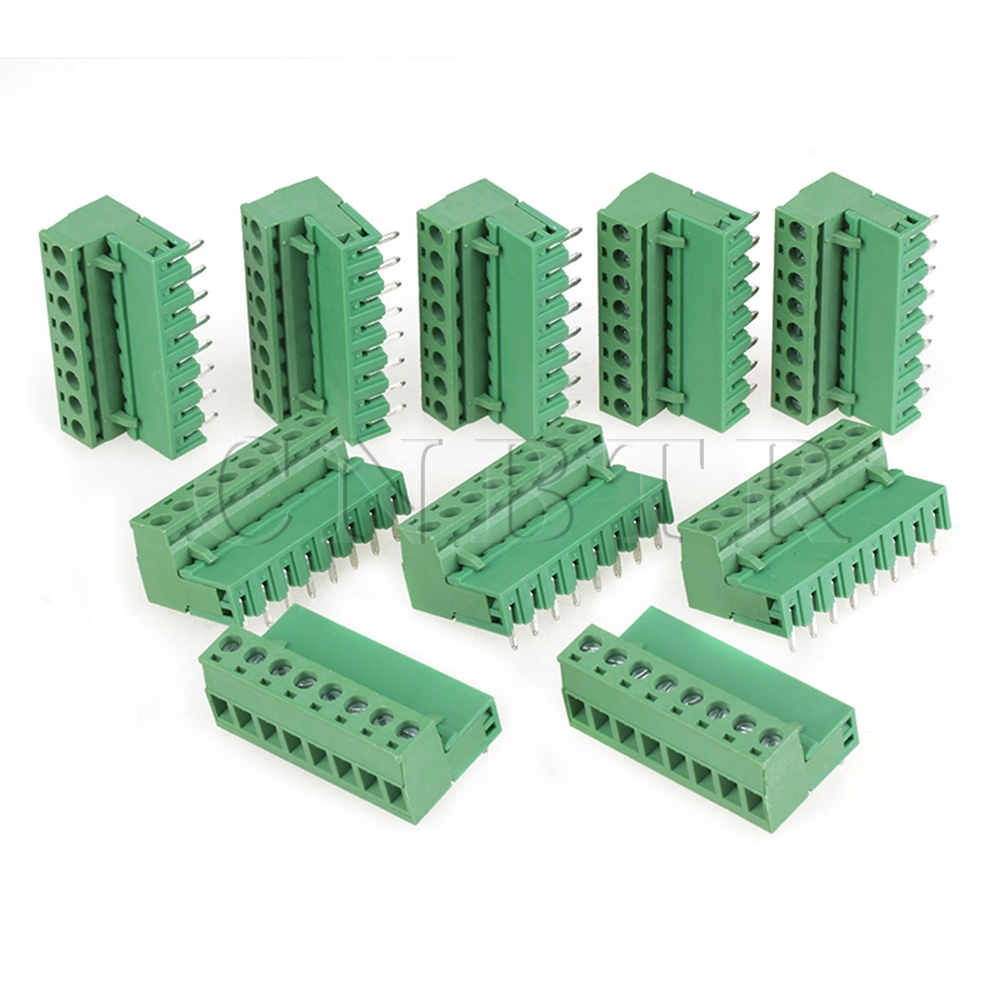 CNBTR  10pcs 5.08mm Right Angle Straight 8 pin Screw Terminal Block Connector Pluggable 5 set orange 8 pin 3 96mm single row screw pluggable terminal block right angle connector 300v 10a