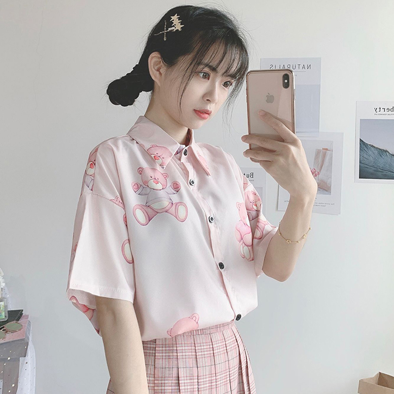 New Summer Shirts Women 2019 College Wind Cute Bear Print Shirts Loose Long Sleeve Harajuku Sweet Pink Cartoon Shirts Female