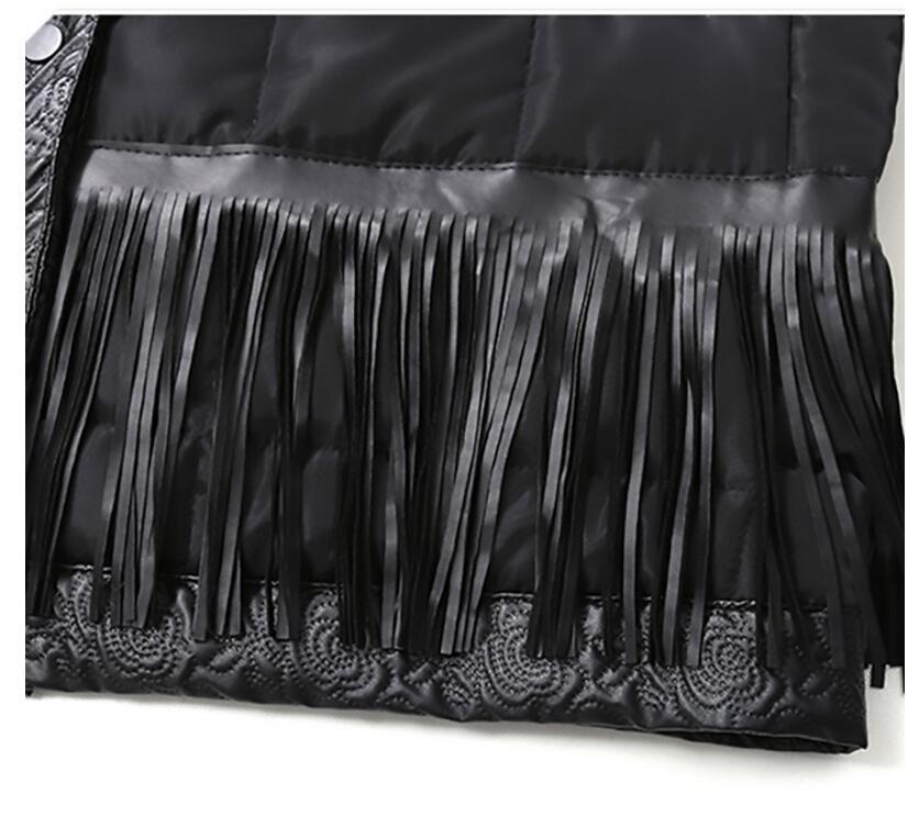 Mode Manteau Col De Noir 2018 Point Cuir Longues Automne Rond Photo Color Pu rembourré Liva Femmes Nouveau Hiver Manches Coton En Paillettes Fille Glands aFWqnHzX1