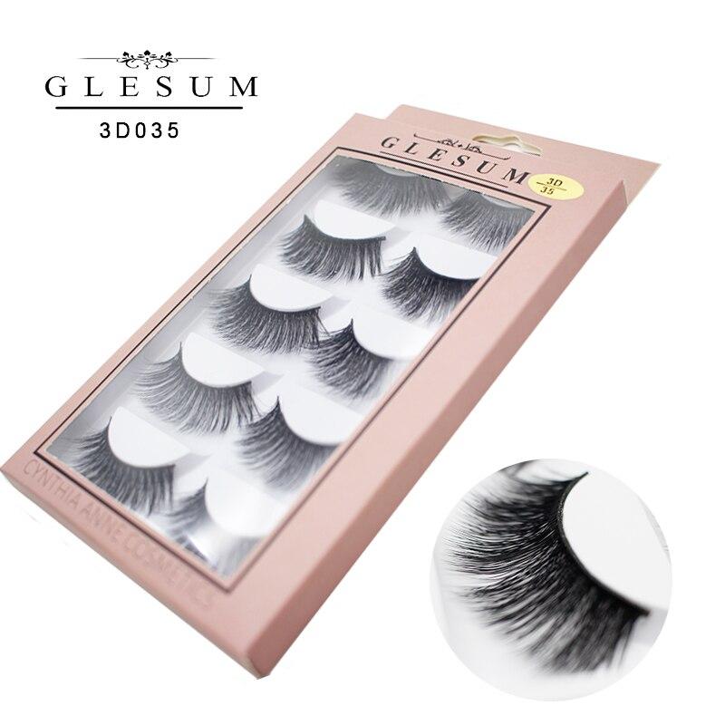 GLESUM 5 Pairs Eyelashes Natural Soft Long 3D Lashes Eyelashes False Lashes Free Shipping