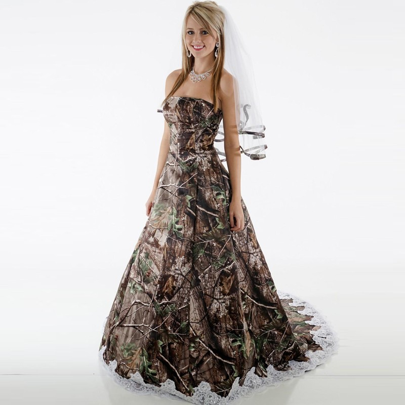 Camo Wedding Dresses Strapless Appliques Backless Camouflage Country Wedding Gowns Sweep Train