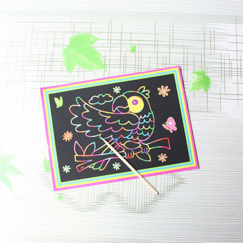 10 pcs 13x 9.8cm Scratch Art Paper Magic Painting Paper with Drawing Stick For Kids Toy Colorful Drawing Toys 1