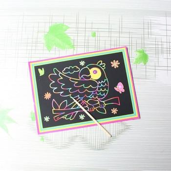 10 pcs 13x 9.8 cm Papel de arte de risco Papel de pintura mágica com Desenho Stick For Kids Toy Brinquedos de desenho colorido 1