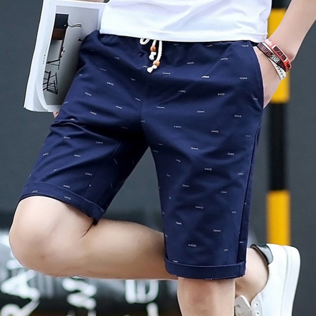 Laamei Summer Mens Prints shorts Casual Drawstring Breathable Straight Cargo Shorts Quality Comfortable Male Homme Elastic short