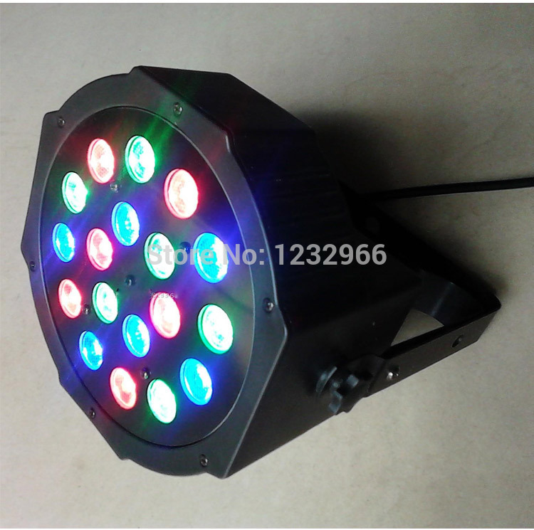 Disco Light RGB Laser Stage Lighting 18*3W Led Stage Light  RGB Party Light  Par With DMX512  Led Flat DJ Equipments Controller