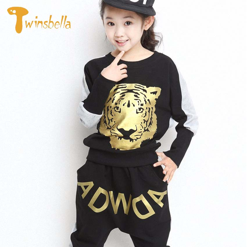 TWINSBELLA Girls Spring Cartoon Tiger Clothing Set New Autumn Boys T-shirt+Harem Pants Kids 2PCS Sport Clothes Suit on sale boys clothing set kids sport cartoon cotton clothes suit boys clothes sweater pants 2pcs clothing set kids set