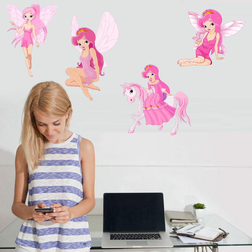Fairy Princess Batterfly Wall Decals For Girls Baby Bedroom Vinyl Wall Sticker Home Decor Removable Wallpaper For Christmas Gift (3)