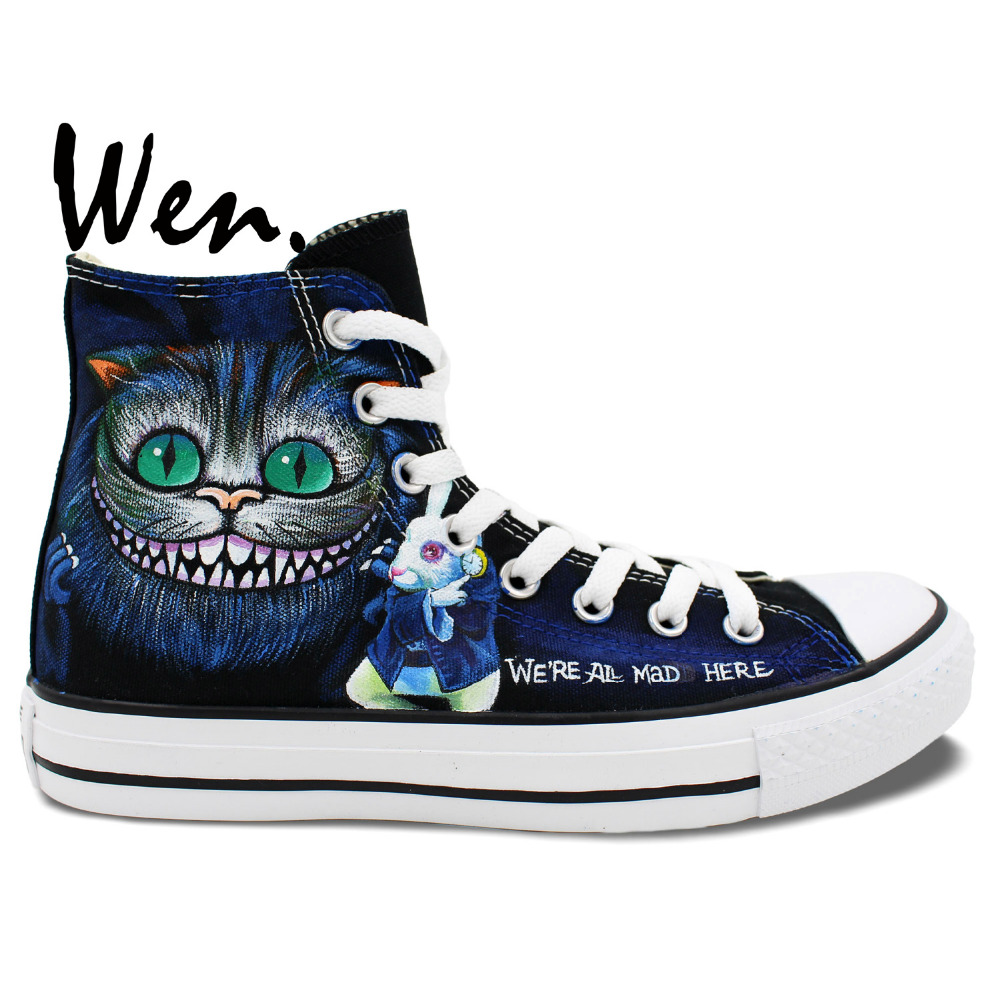 Wen Design Custom Original Hand Painted Shoes Cheshire Cat Mad Hatter High  Top Canvas Sneakers for Men Women 4c7dfa7c2728
