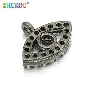 Image 4 - 11*8mm Brass Cubic Zirconia Evil Eyes Charms Pendants DIY Jewelry Bracelet Necklace Making, Model: VD85