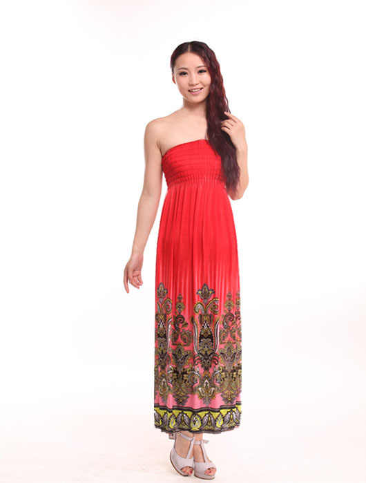 ... Freeshipping Womens Ladies Sheering Gather Boobtube Bandeau Printed Long  Summer Strapless Maxi Dress ... 04a20a0cb817