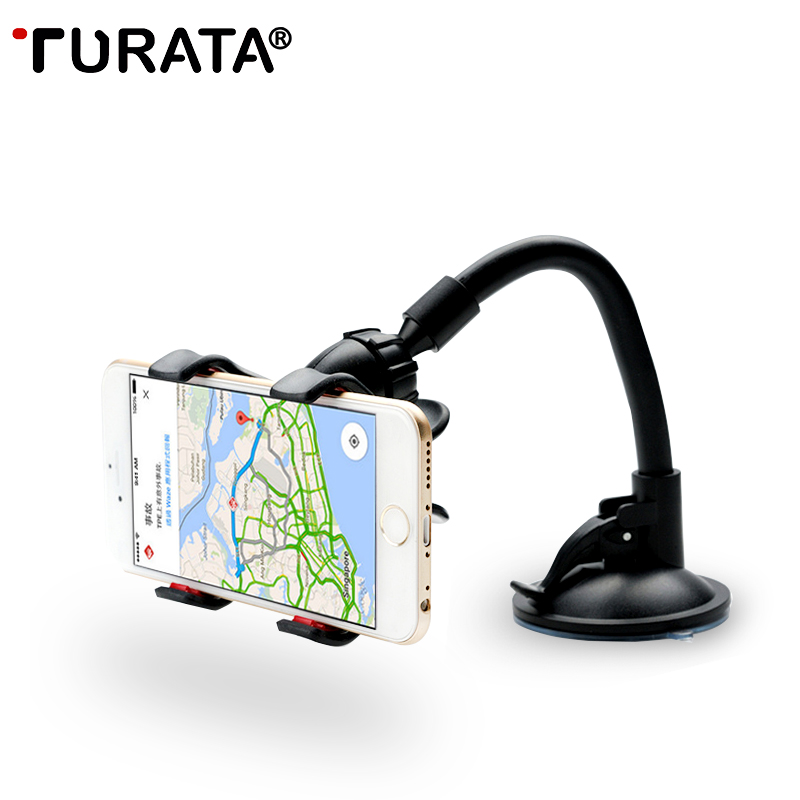 TURATA Car Phone Holder, Flexible 360 Degree Adjustable Car Mount Mobile Phone Holder For Smartphone 3.5-6 inch, Support GPS