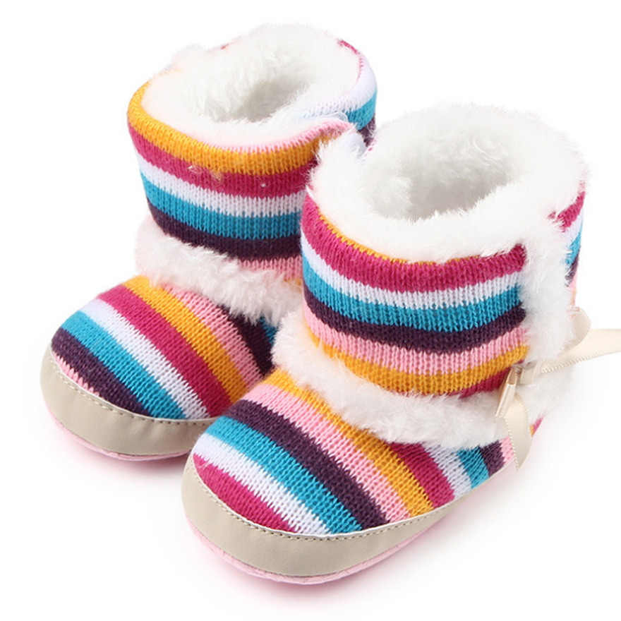 Colorful Rainbow Striped Wool Girls Baby Boots Plus Velvet Keep Warm  Newborn Baby Winter Shoes Family Snow Baby Shoes Booties-in First Walkers  from Mother ... 740d226a1006