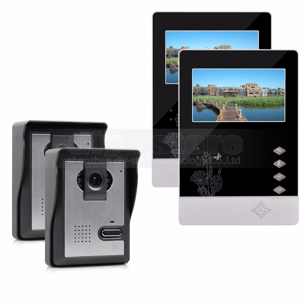 DIYSECUR 4.3 inch TFT LCD Indoor Monitor + 600 TVLine HD Camera IR Night Vision Video Door Phone Video Intercom 2V2