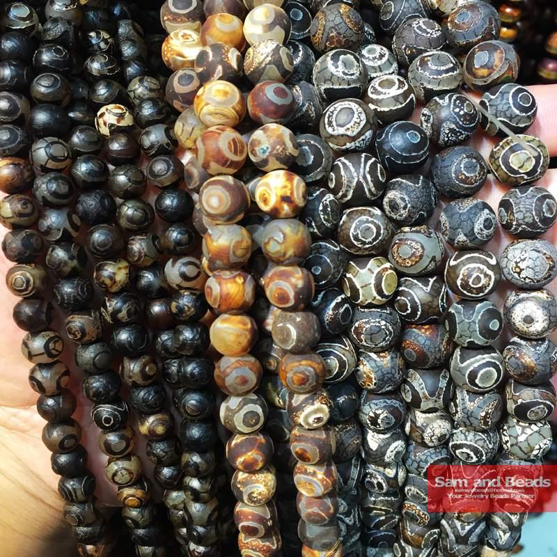 China Tibetan Dzi Eyes Beads Natural Brown Stone Religion 8/10/12MM Round Loose Beads For Jewelry Making Bracelet DIY CTB05