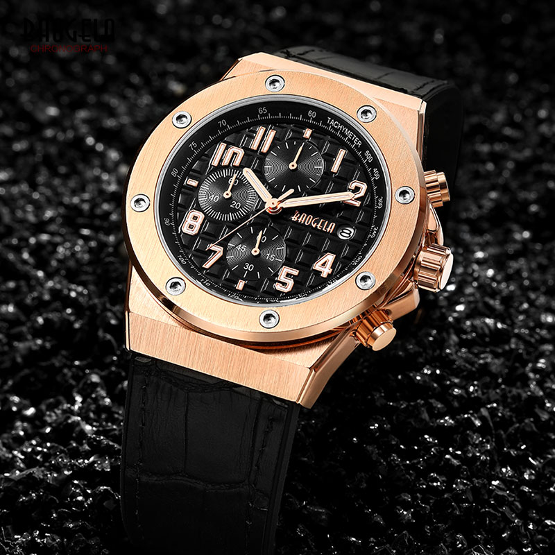 Image 3 - BAOGELA Men's Chronograph Quartz Watches 2019 New Waterproof Sports Casual Wrist Watch Man Leather Strap Clock 1805 Rose black-in Quartz Watches from Watches