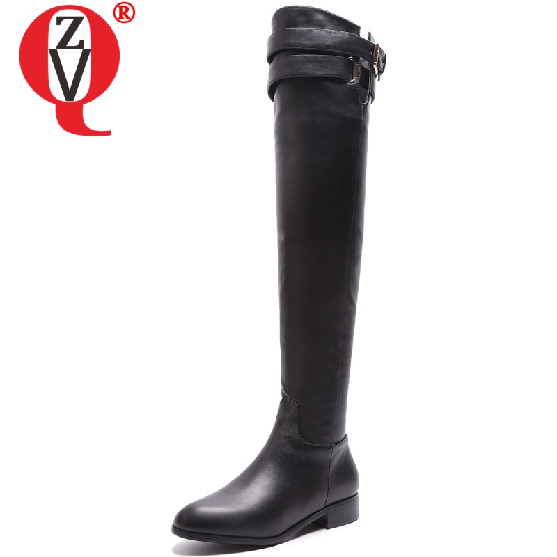 ZVQ women shoes 2018 winter new concise casual genuine leather boots low square heel zip round toe black outside over knee boots