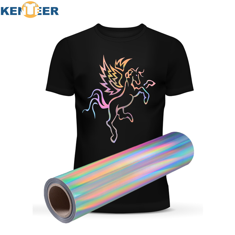 Home Decor Heat Transfer Vinyl 50*120cm sliver rainbow iron on transfer for clothes vinyls design hat bag HTV shirts home party