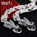Beier new store100% 925 silver sterling domineering bracelets bangles for men Zircon hand chain fine jewelry BR-SL003