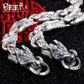 Beier nuevos store100 % 925 plata esterlina brazaletes de las pulseras para hombres joyería fina de circón cadena de la mano dominante br-sl003
