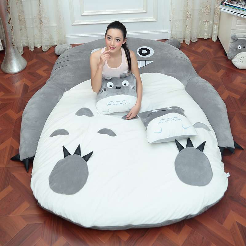 4 Size Large Totoro Single And Double Bed Giant Totoro Bed Mattress Cushion Plush Mattress Pad Tatami Cushion Beanbag Matelas